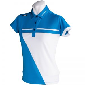 Crest Link Ladies Golf Shirt – Blue/White – Large