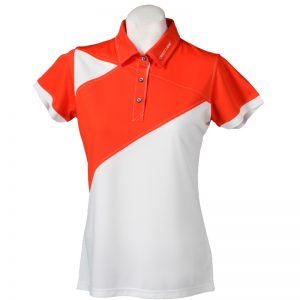 Crest Link Ladies Golf Shirt – Orange/White Large