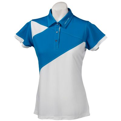 Crest Link Ladies Golf Shirt – White/Blue XL