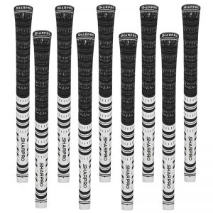 9 Shappro Dual Compound Midsize Golf Grips – Black/White