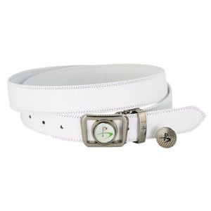 Leather Golf Belt with Magnetic Golf Ball Marker – White