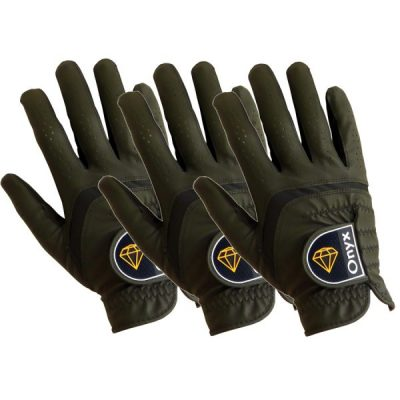 ONYX Mens Golf Gloves Right Hand Black 3 Pack