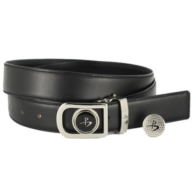Leather Golf Belt with Magnetic Golf Ball Marker – Black