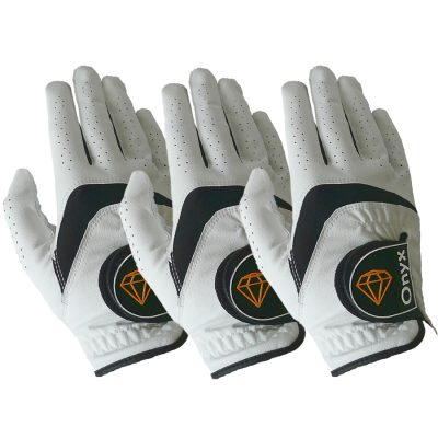ONYX Mens Golf Gloves Right Hand White 3 Pack