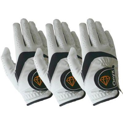 ONYX Mens Golf Gloves Right Hand White 3 Pack