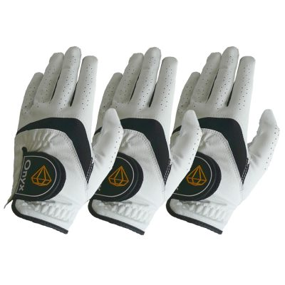 ONYX Mens Golf Gloves Left Hand White 3 Pack