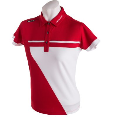 Crest Link Ladies Golf Shirt – Red/White – Large