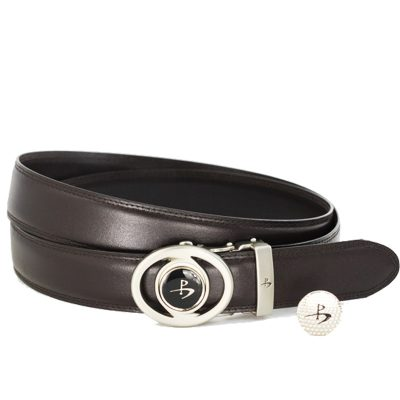 Leather Golf Belt with Magnetic Golf Ball Marker – Brown