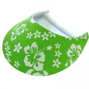 Ladies Golf Visor – Green Hibiscus