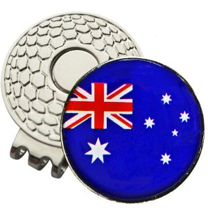 Golf Ball Marker on Magnetic Hat Clip – Australian Flag