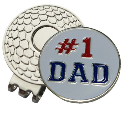 Golf Ball Marker on Magnetic Hat Clip – # 1 Dad