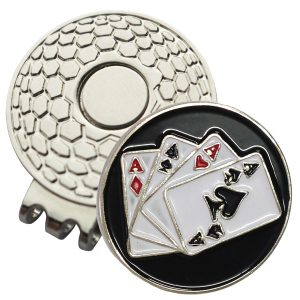 Golf Ball Marker on Magnetic Hat Clip – Aces