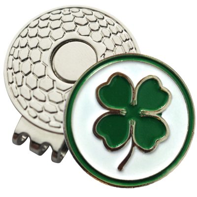 Golf Ball Marker on Magnetic Hat Clip – 4 Leaf Clover