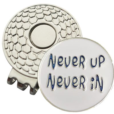 Golf Ball Marker on Magnetic Hat Clip – Never Up Never In