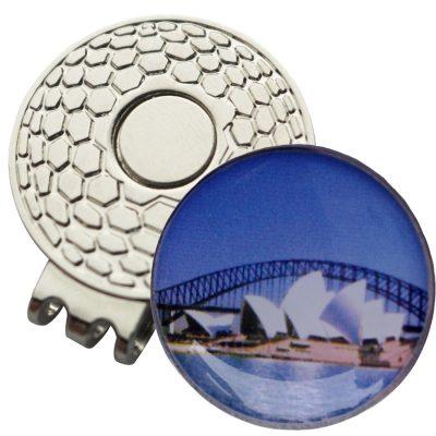 Golf Ball Marker on Magnetic Hat Clip – Sydney Opera House