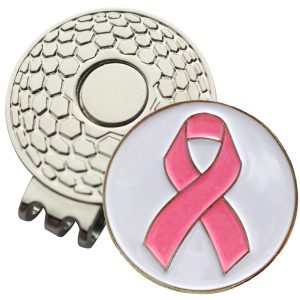 Golf Ball Marker on Magnetic Hat Clip – Pink Ribbon