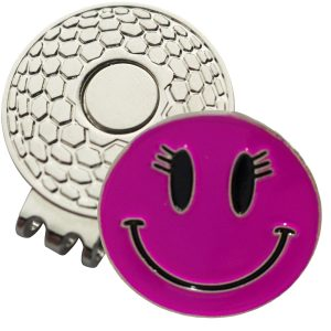 Golf Ball Marker on Magnetic Hat Clip – Pink Smiley Face