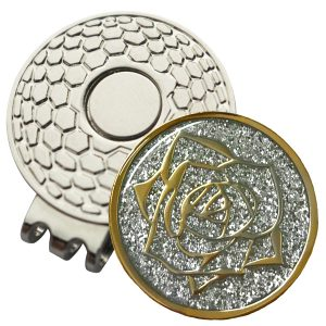 Golf Ball Marker on Magnetic Hat Clip – Glitter Rose