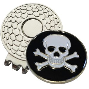 Golf Ball Marker on Magnetic Hat Clip – Skull & Crossbones