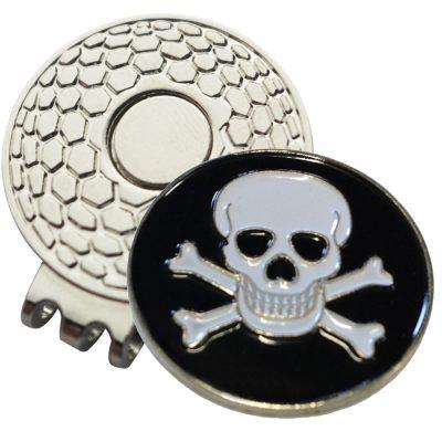Golf Ball Marker on Magnetic Hat Clip – Skull & Crossbones