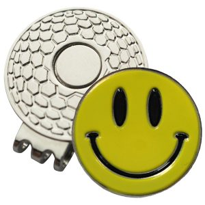 Golf Ball Marker on Magnetic Hat Clip – Yellow Smiley Face