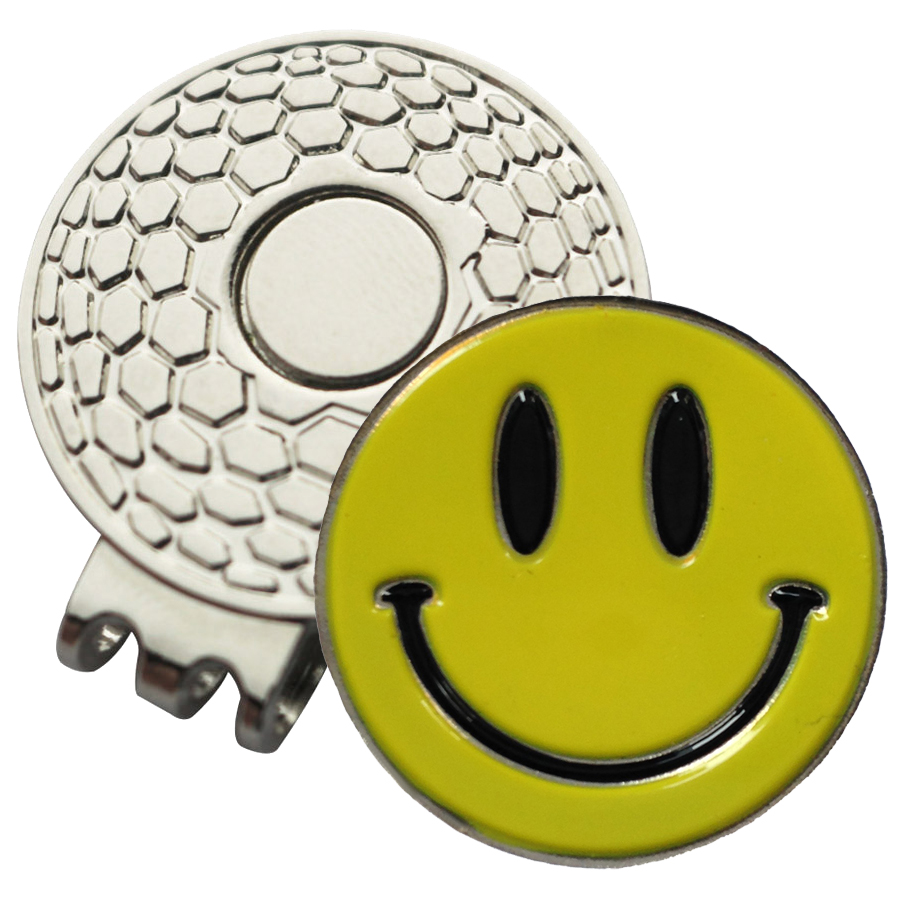 Golf Ball Marker On Magnetic Hat Clip Yellow Smiley Face Golf