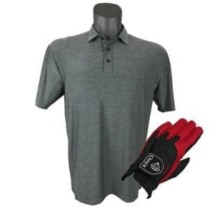 Onyx Sierra Mens Golf Shirt | Golf Polo | Grey with FREE Onyx Golf Glove