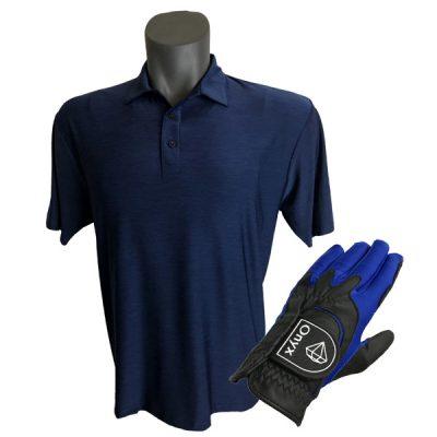 Onyx Sierra Mens Golf Shirt   Golf Polo   Navy with FREE Onyx Golf Glove
