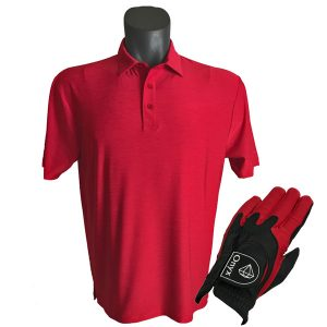 Onyx Sierra Mens Golf Shirt | Golf Polo | Red with FREE Onyx Golf Glove
