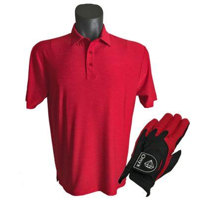 Onyx Sierra Mens Golf Shirt   Golf Polo   Red with FREE Onyx Golf Glove