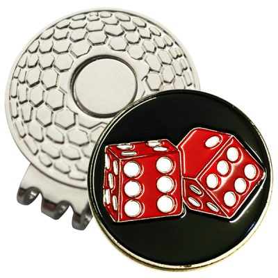 Golf Ball Marker on Magnetic Hat Clip – Double Dice