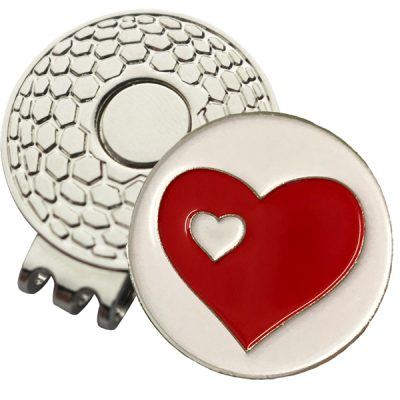 Golf Ball Marker on Magnetic Hat Clip – Two Hearts