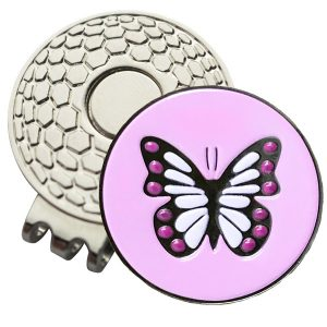 Golf Ball Marker on Magnetic Hat Clip – Spring Butterfly