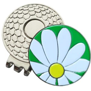 Golf Ball Marker on Magnetic Hat Clip – White Daisy