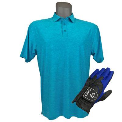 Onyx Sierra Mens Golf Shirt   Golf Polo   Sky with FREE Onyx Golf Glove