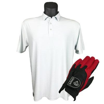 Onyx Sierra Mens Golf Shirt   Golf Polo   Ivory with FREE Onyx Golf Glove