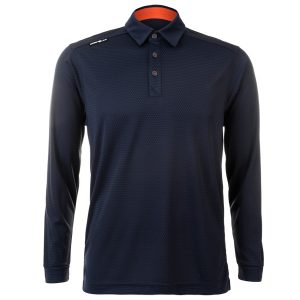 Crest Link Mens Long Sleeve Golf Shirt | Golf Polo | Navy