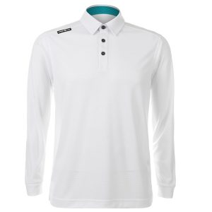 Crest Link Mens Long Sleeve Golf Shirt | Golf Polo | White