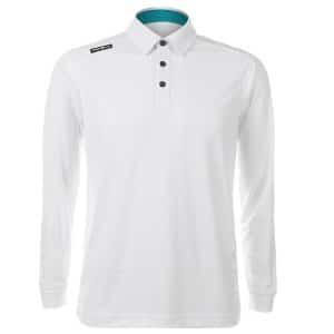 Crest Link Mens Long Sleeve Golf Shirt | Golf Polo | White