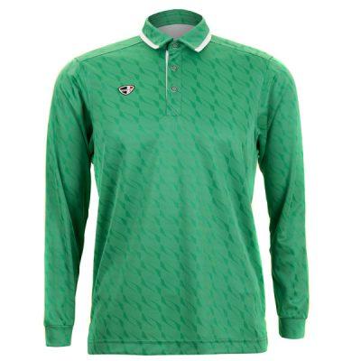 Crest Link Mens Long Sleeve Golf Shirt | Golf Polo | Green