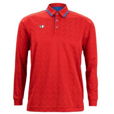 Crest Link Mens Long Sleeve Golf Shirt | Golf Polo | Red