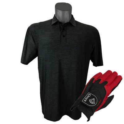 Onyx Sierra Mens Golf Shirt   Golf Polo   Charcoal with Free Golf Glove