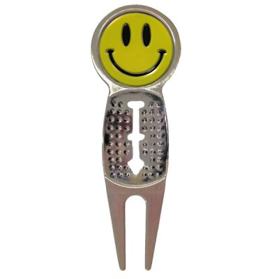 Pitch-Divot Repair Tool with Yellow Smiley Ballmarker